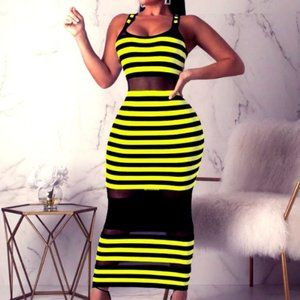 Neon Yellow Mesh Dress